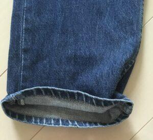 リーバイス501デニムのシングルステッチにおける裾の色落ち