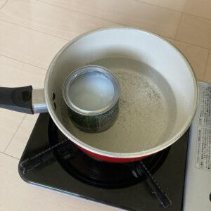 オイルを湯煎して温める